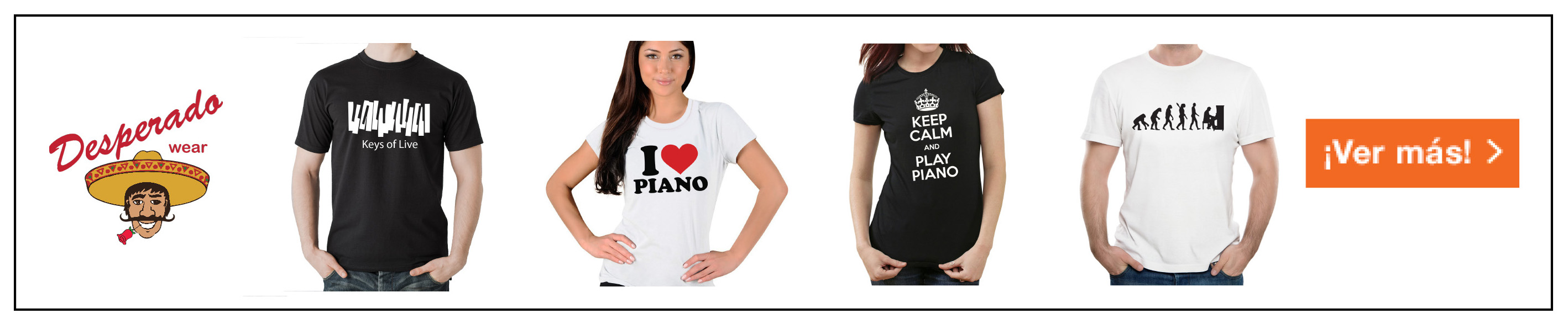 Desperado Wear camisetas de piano